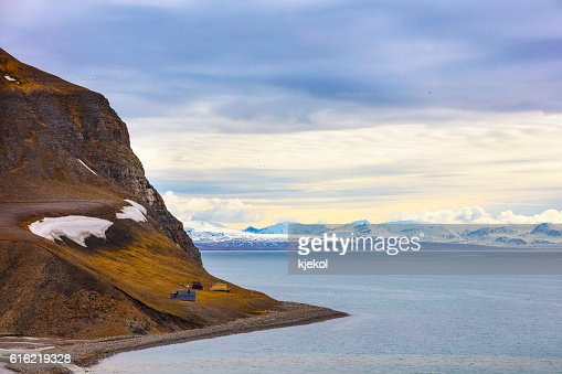 Houses and mountains in arctic summer landscape : Foto stock