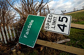 Houses and property in ruin the morning after a tornado swept through the town the previous day on April 10 2015 in Fairdale Illinois According to...