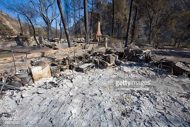 Houses and residential area devastated by Station fire Sept 5 2009 Big Tunjunga Canyon Road San Gabriel Mountains Angeles National Forest Los Angeles...
