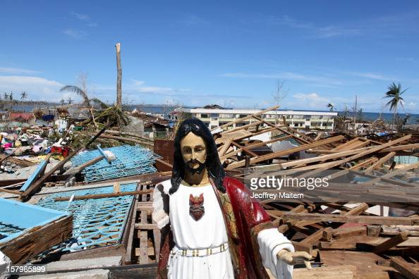Houses are destroyed on December 8 2012 after Typhoon Bopha hit the town of Cateel Davao Oriental province Philippines in the typhoonhit town of...