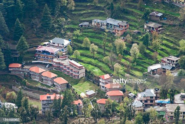 Houses built on terraced fields, Triund, Dharamsala, India, Asia