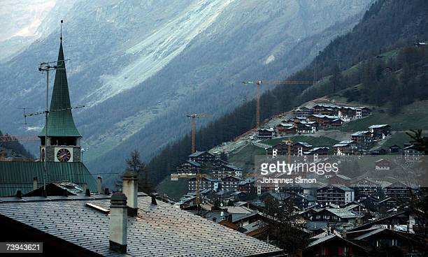 Houses fill the Matterhorn Mountain base of the Swiss village Zermatt April 21 2007 in Zermatt Switzerland The Matterhorn which towers the village of...