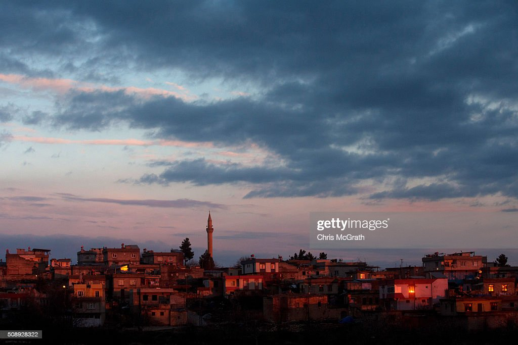Houses in a small village close to the town of Kilis are seen at sunset on February 7, 2016 in Kilis, Turkey. The Turkey/Syria border crossing located at Kilis is currently under pressure to reopen as thousands of refugees mass on the Syrian side after fleeing heavy fighting in Aleppo.