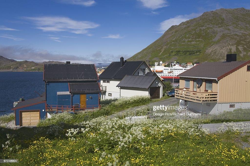 Houses in Honningsvag Port, Mageroya Island, Finnmark Region, Arctic Ocean, Norway, Scandinavia : Stock Photo