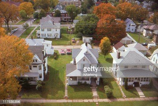 houses in small town Iowa 1985, retro