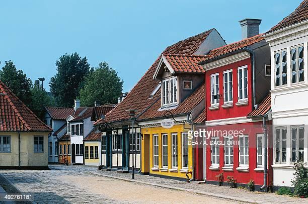 Houses in the Montestraede district in Odense island of Funen Syddanmark Denmark
