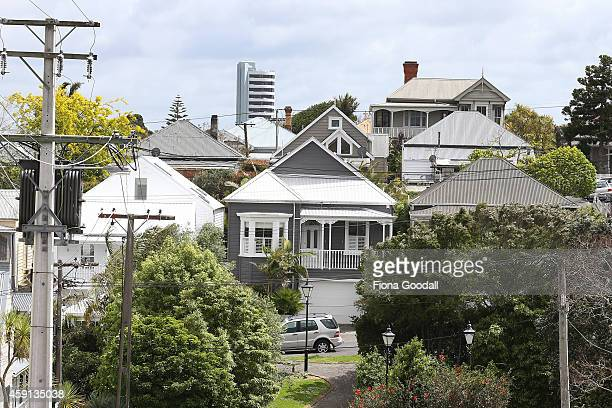 Houses line the streets of Auckland's central suburbs on November 18 2014 in Auckland New Zealand Auckland households are facing an average 56...