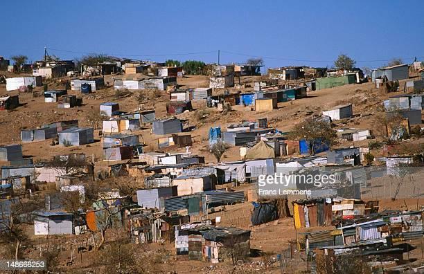 Houses made of corrugated iron at Goreangab township.