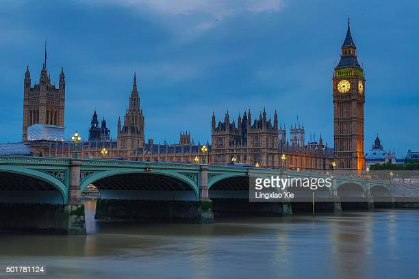 Houses of Parliament and Westminster Bridge at dusk