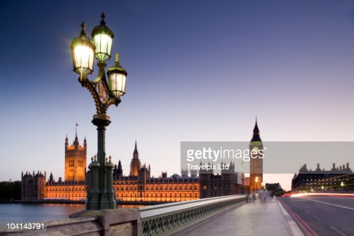 Houses of Parliament and Westminster Bridge : Stock Photo