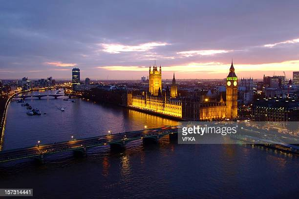 Houses of Parliament, Big Ben, Westminster Bridge and River Thames