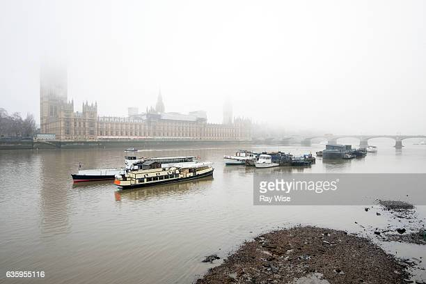 Houses of Parliament in dense fog.