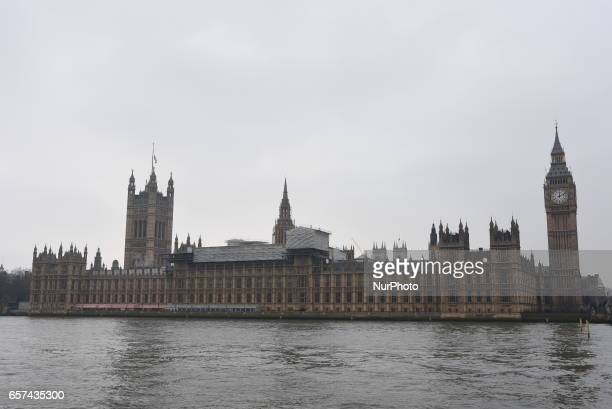 Houses of Parliament in Westminster London on March 24 2017 The city is back to normal business but the police's survelliance is in a state of...