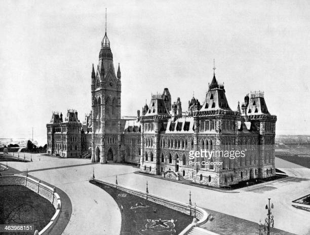 Houses of Parliament Ottawa Canada 1893 Illustration from Portfolio of Photographs of Famous Cities Scenes and Paintings