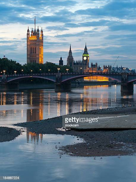 Houses of Parliament with Big Ben in London at dusk