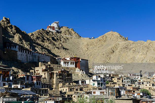 LADAKH LEH JAMMU KASHMIR INDIA Houses of the old township of Leh the capitol of Ladakh and located at 3600 m above sea level with surrounding hills...