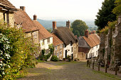 Picturesque view of Gold Hill in Shaftesbury, which is in the county of Dorset, England.