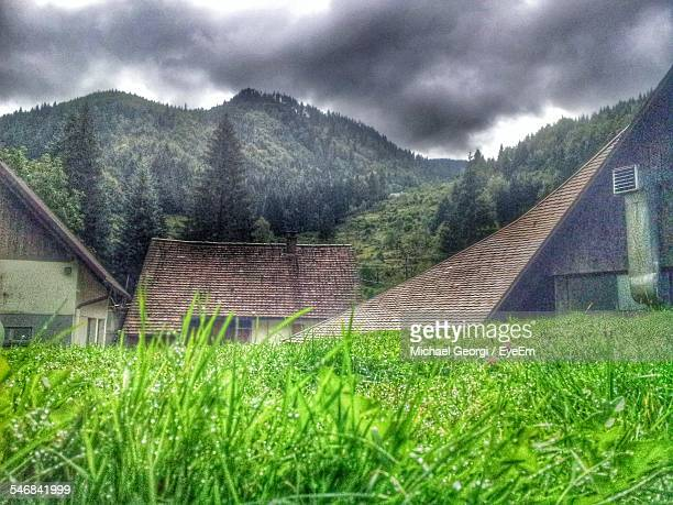 Houses On Grassy Field In Front Of Black Forest Mountains Against Cloudy Sky