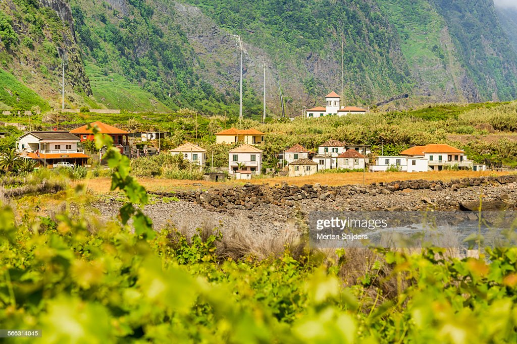 Houses on hill at São Vicente bay