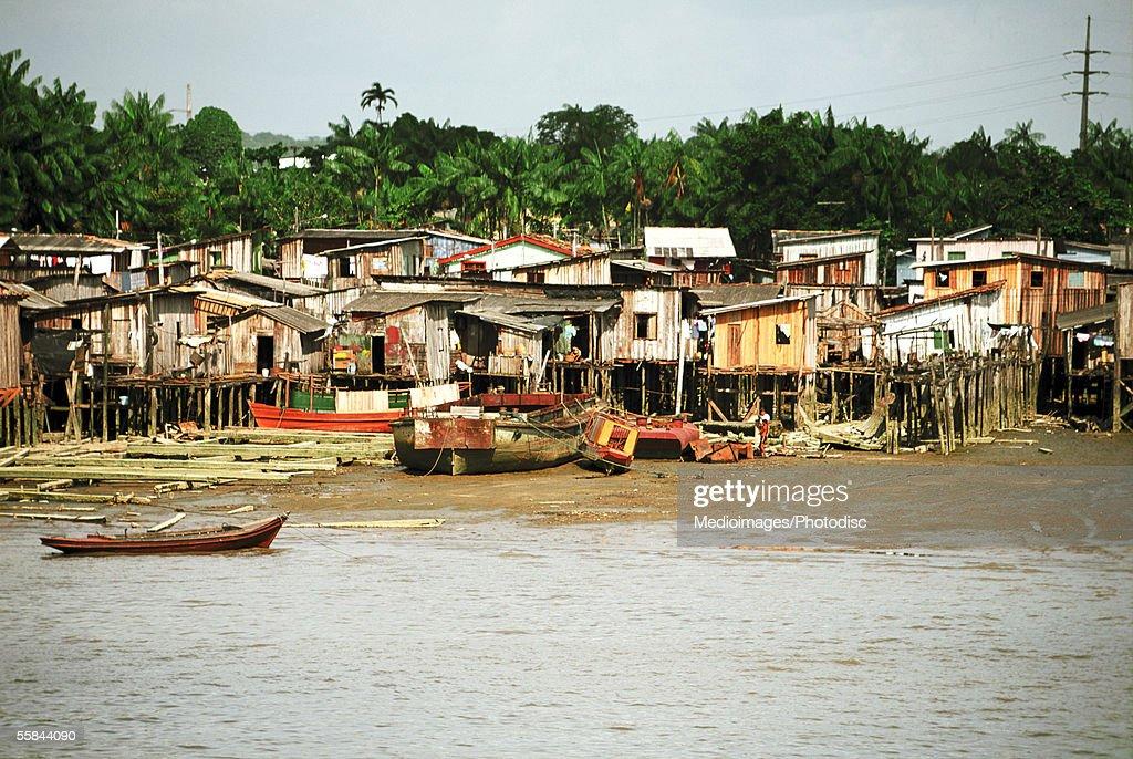 Houses on stilts in water, Belem, Brazil