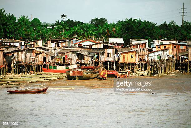 Houses on stilts in water, Belem, Brazil