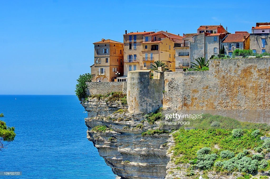 Houses on top of cliff : Stock Photo