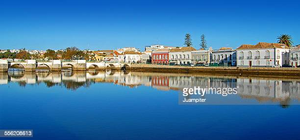 Houses reflected in Gilao River, Tavira
