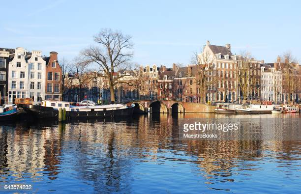 Houses Reflections on the Amstel River