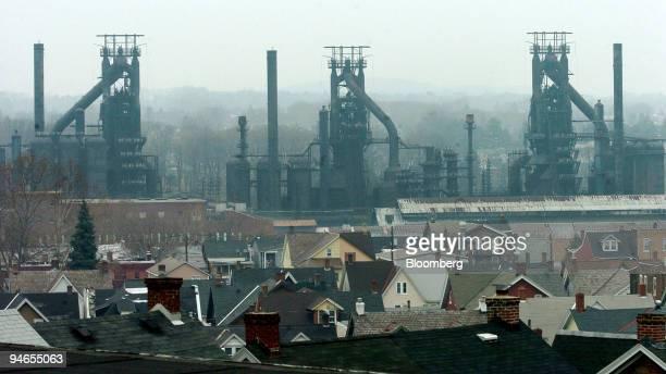 Houses sit adjacent to the shuttered Bethlehem Steel plant blast furnaces in Bethlehem Pennsylvania on Wednesday November 29 2006