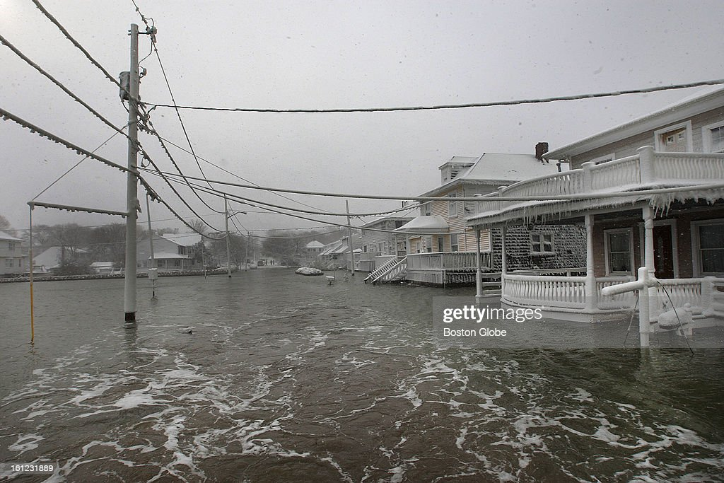 Houses surrounded by water on Turner Road in Scituate.