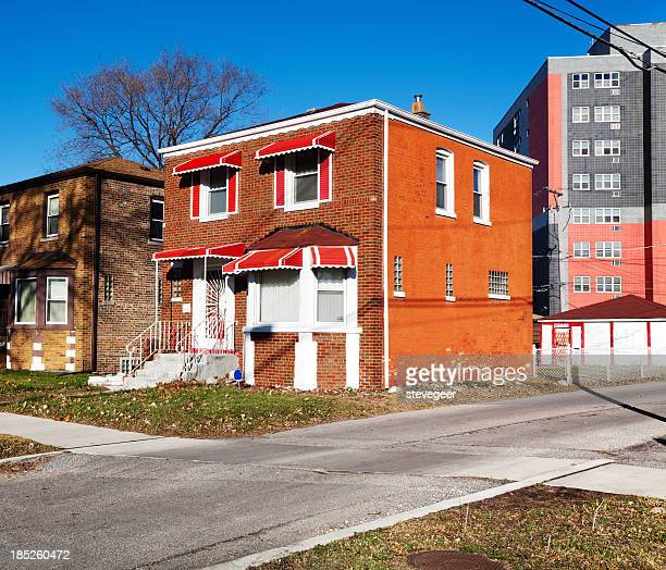 Houses with awnings in Woodlawn, Chicago