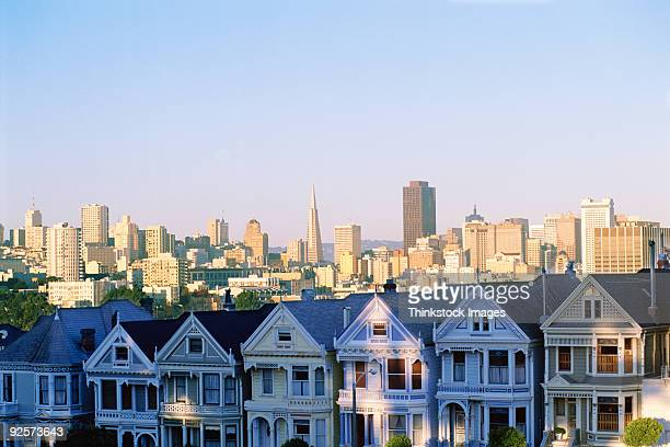 Houses with skyline cityscape behind it, Alamo Square, San Francisco