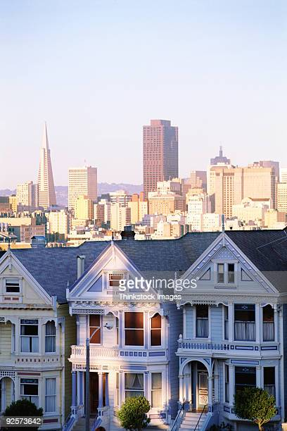 Houses with skyscraper skyline behind it, Alamo Square, San Francisco