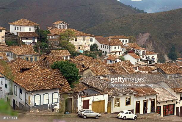 Houses with tiled roofs in the town of Ouro Preto in Brazil