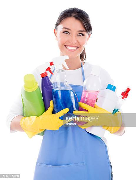 Housewife holding cleaning products
