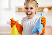 little girl doing housework