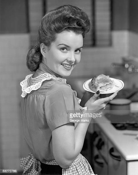Housewife with dish of pie