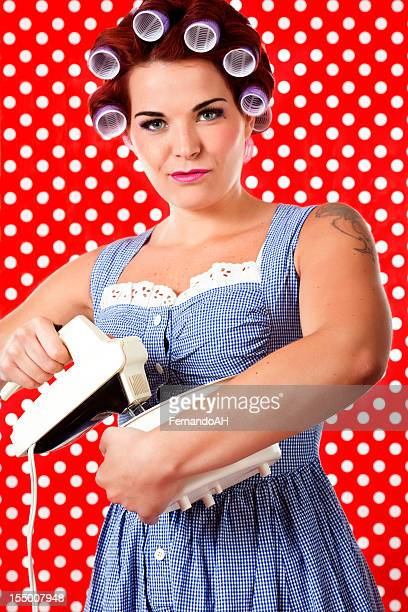 Housewife with retro mixer