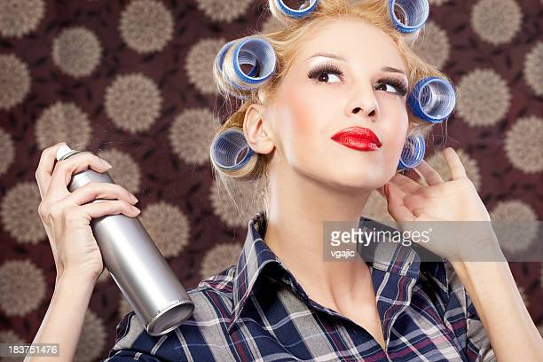 Housewife Woman with hair spray