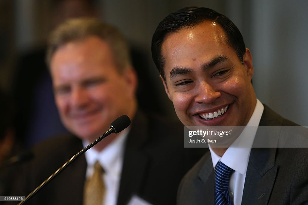 Housing and Urban Development secretary Julian Castro looks on during a round table discussion after touring a new affordable housing facility on April 8, 2016 in Sunnyvale, California. HUD secretary Julian Castro and U.S. Rep Mike Honda (D-CA) toured a new affordable housing facility aimed at helping recently homeless vets.