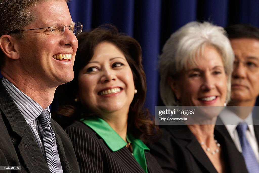 Housing and Urban Development Secretary Shaun Donovan, Labor Secretary Hilda Solis, Health and Human Services Secretary Kathleen Sebelius and Veterans Affairs Secretary Eric Shinseki participate in the release of a report about homelessness June 22, 2010 in Washington, DC. The Obama Administration cabinet members used the event to release the nation's first comprehensive strategy to prevent and end homelessness, called 'Opening Doors.'