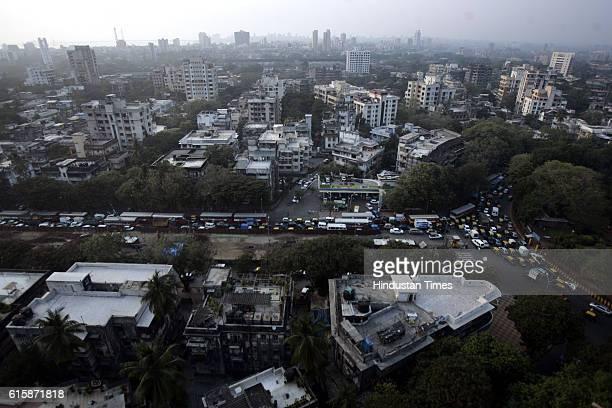 Housing buildings Aerial View of Mumbai King Circle garden Maheshwari Udyan in Matunga