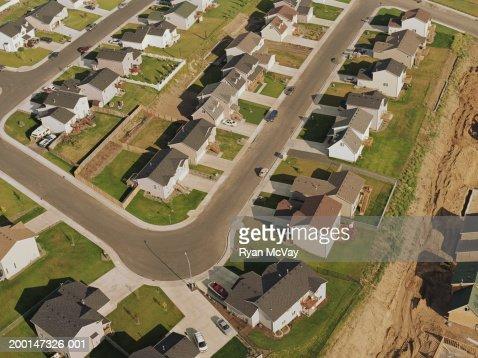 Lotissement en construction, vue aérienne