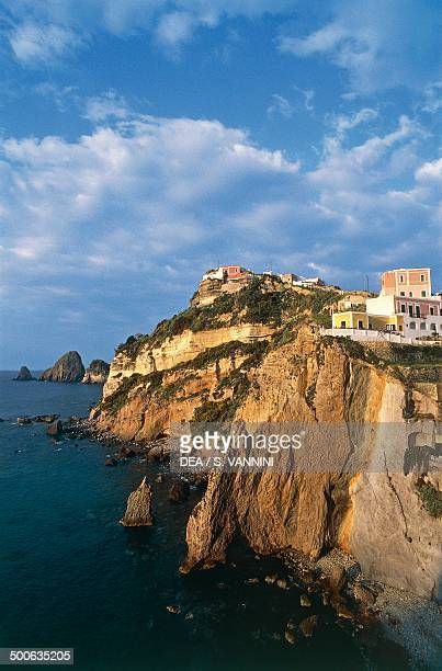 Housing on the cliff in Ponza Pontine Islands Lazio Italy
