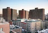 """Apartment blocks of a public housing project in Harlem, New York City, New York, USA."""