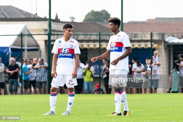 Houssem Aouar and Willem Geubbels of Lyon during the friendly match between Olympique Lyonnais and BourgenBresse on July 8 2017 in Peronnas France