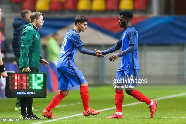 Houssem Aouar of France and Jonathan Bamba of France during the Under 21s Euro 2019 qualifying match between France U21 and Bulgaria U21 on November...