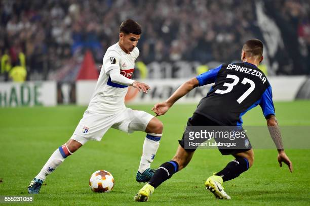 Houssem Aouar of Lyon and Leonardo Spinazzola of Bergame during the Uefa Europa League match between Lyon and Atalante Bergame on September 28 2017...