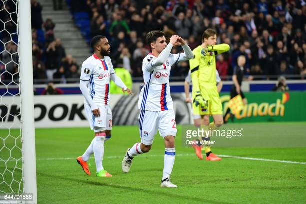 Houssem Aouar of Lyon celebrates his goal during the Europa League match between Olympique Lyonnais and AZ Alkmaar at Stade des Lumieres on February...