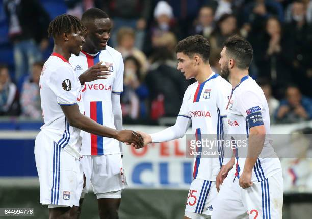Houssem Aouar of Lyon celebrates his goal with Mapou YangaMbiwa Mouctar Diakhaby Jordan Ferri during the UEFA Europa League Round of 32 second leg...